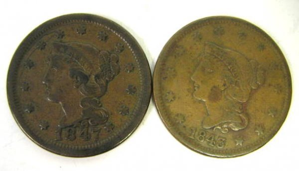 US LARGE CENT COIN LOT OF 2 1845 & 1847