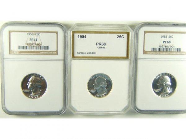 WASHINGTON QUARTER PROOF LOT OF 3 PF67-68 1953-55