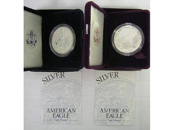 AMERICAN SILVER EAGLE PROOF 1 OZ COINS 1995 & 1999