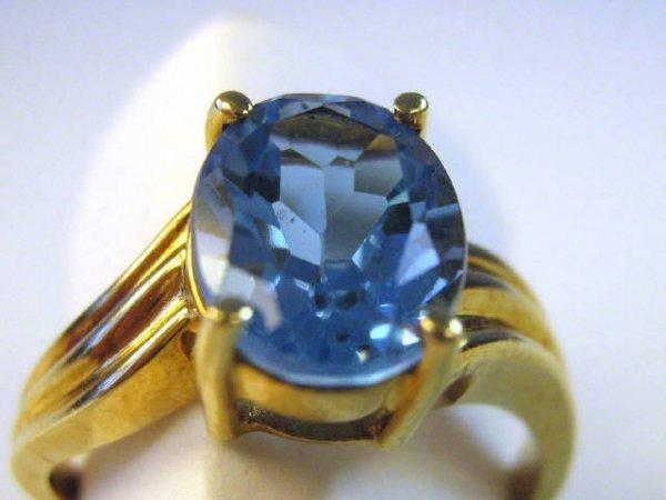 LADIES BLUE TOPAZ / DIAMOND FASHION RING 10K GOLD