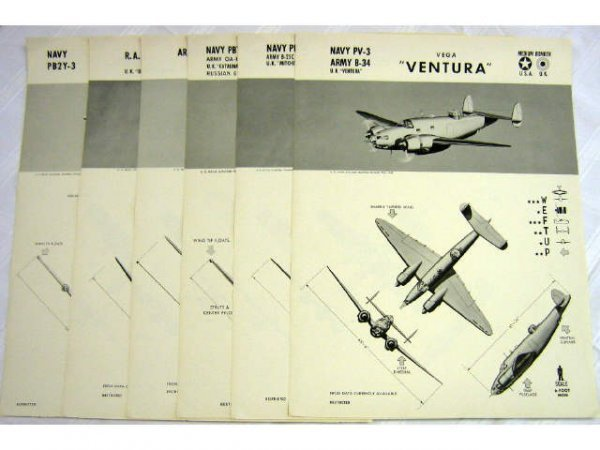 WWII NAVY TRAINING WEFTUP ID POSTERS ALLIED PLANES