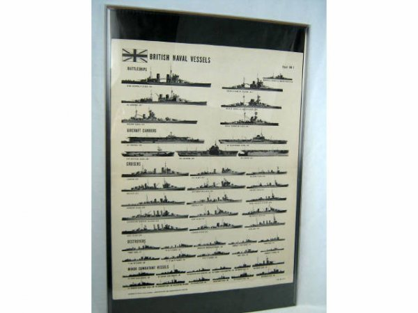 WWII BRITISH NAVAL VESSELS ID RECOGNITION POSTER