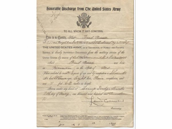WWI US ARMY HONORABLE DISCHARGE CERTIFICATE NAMED