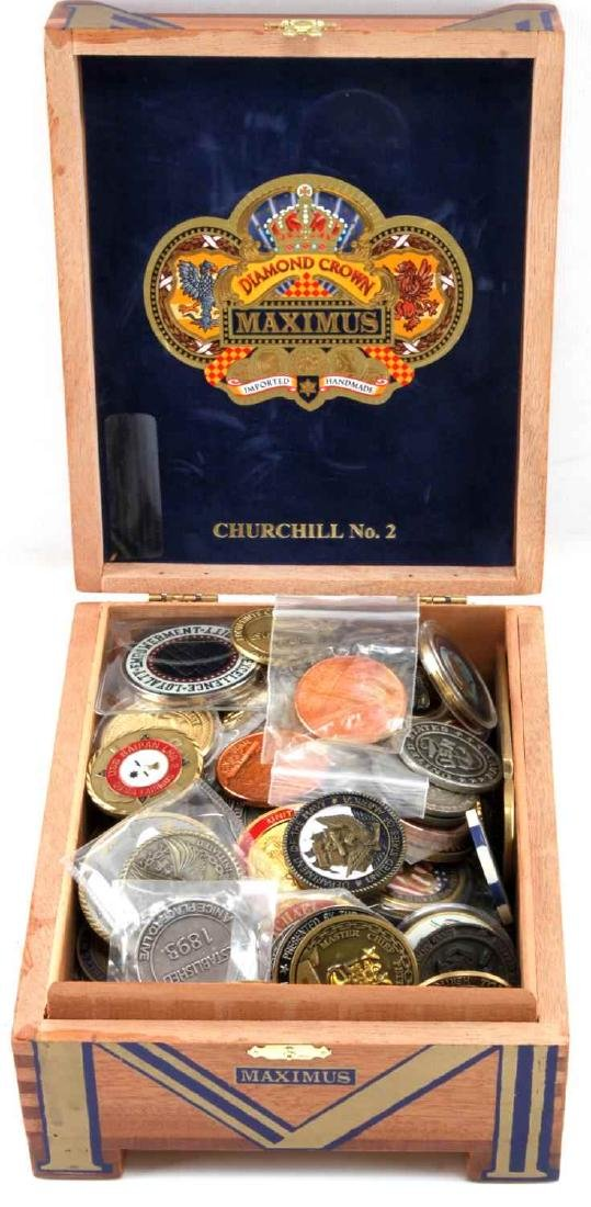 CIGAR BOX FULL OF US NAVY CHALLENGE COINS OVER 100