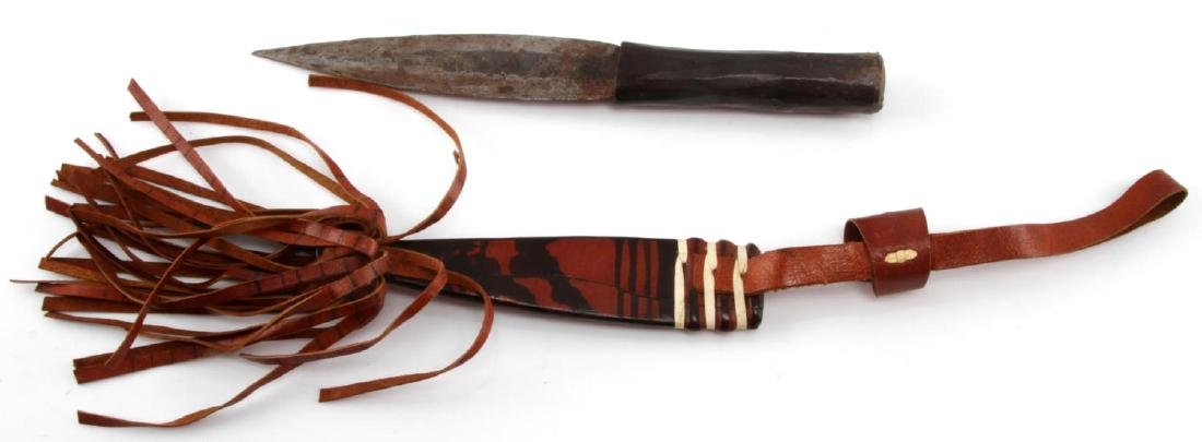 NATIVE AMERICAN KNIFE DECORATIVE LEATHER SCABBARD