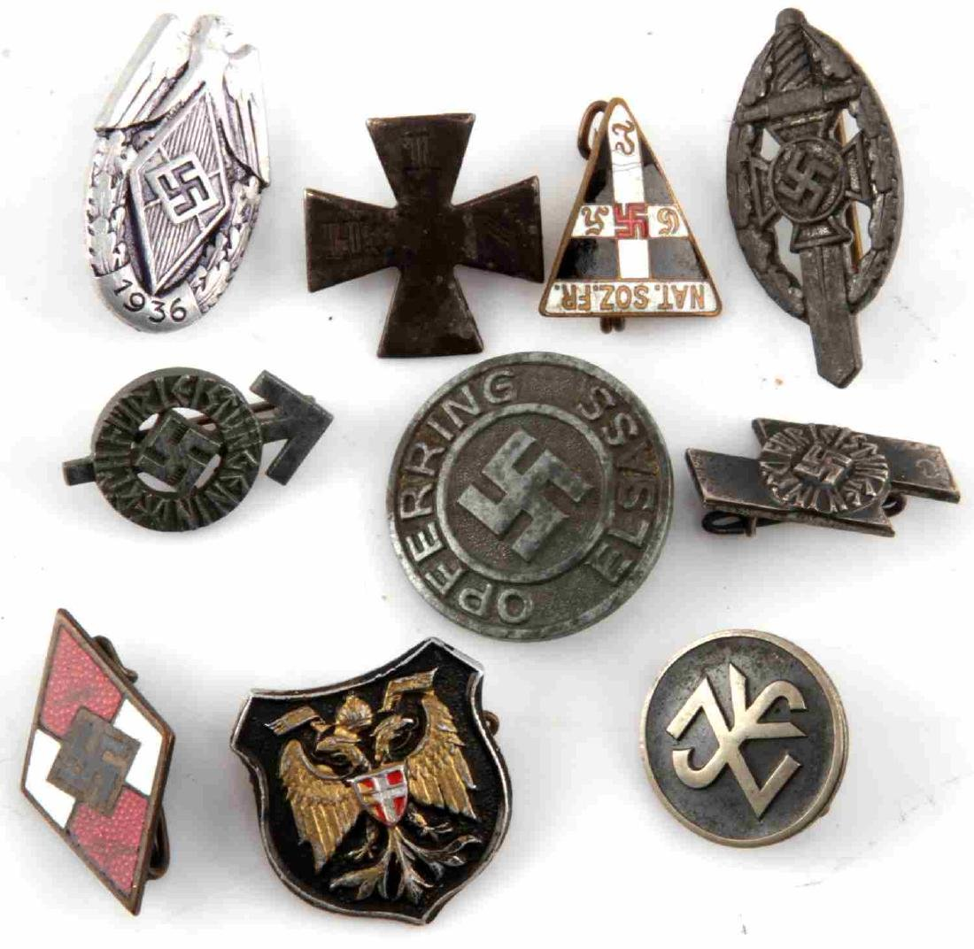 LOT OF 10 MIXED GERMAN WWII THIRD REICH TINNIES