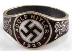 WWII GERMAN THIRD REICH ADOLF HITLER SILVER RING