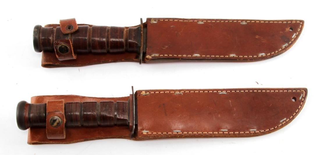 2 US WWII FIGHTING KNIVES WITH LEATHER SHEATHS PAL