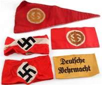 5 WWII GERMAN THIRD REICH NSDAP ARMBANDS & PENNANT