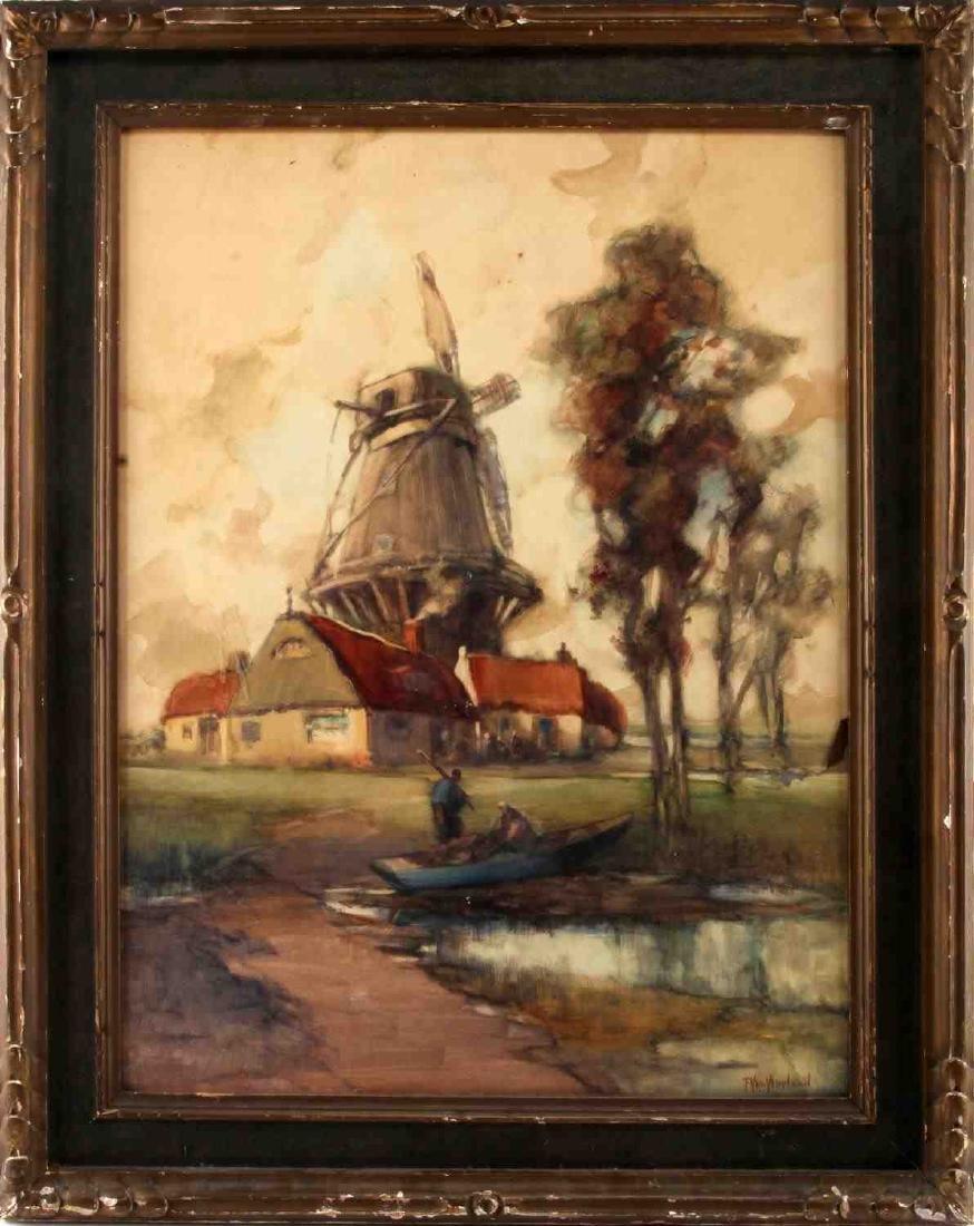 DUTCH STYLE WATERCOLOR W WINDMILL BY VAN NEELAND