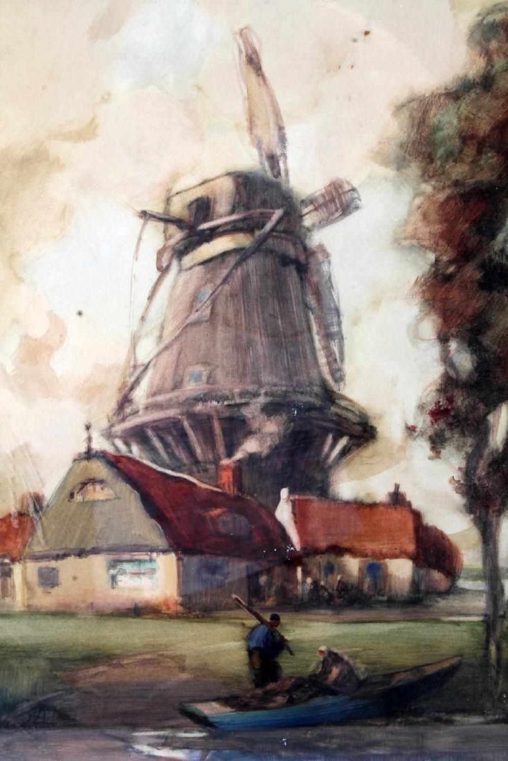 DUTCH STYLE WATERCOLOR W WINDMILL BY VAN NEELAND - 3