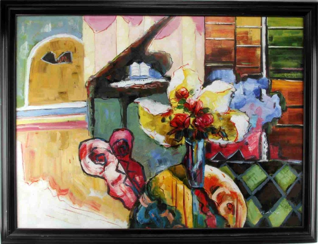ABSTRACT EXPRESSIONST STILL LIFE OIL PAINTING