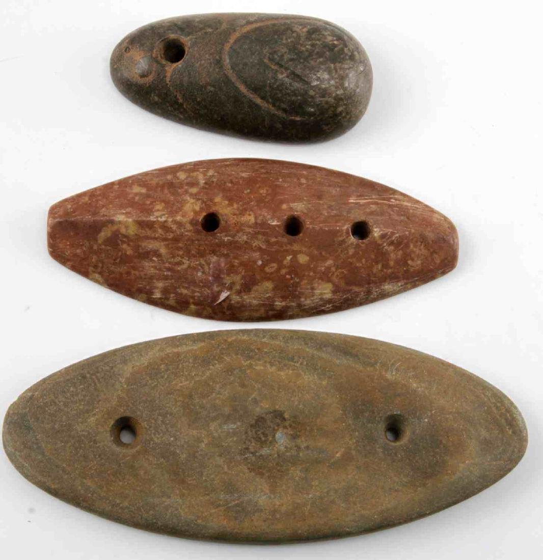 WOODLAND PERIOD HARD STONE GORGET & PENDANT LOT