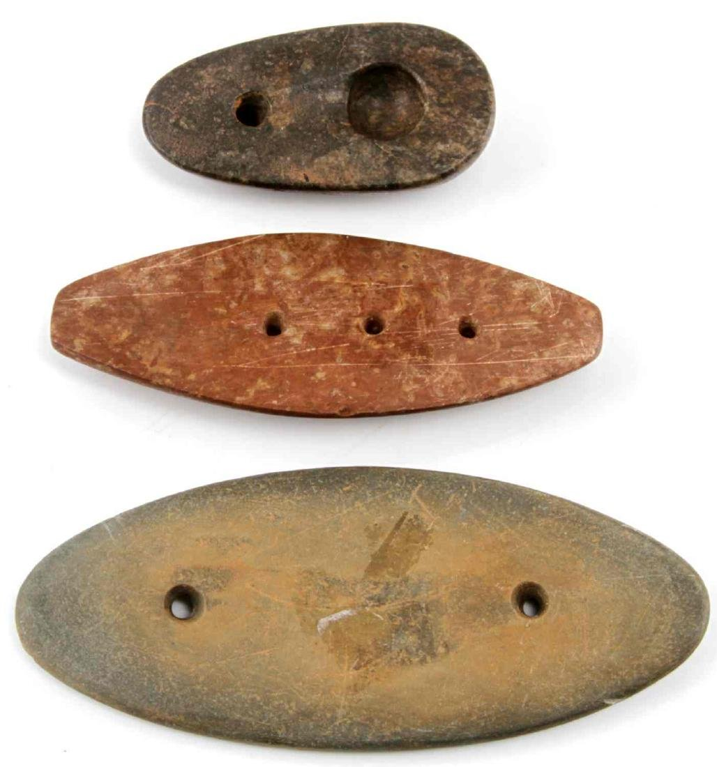 WOODLAND PERIOD HARD STONE GORGET & PENDANT LOT - 2