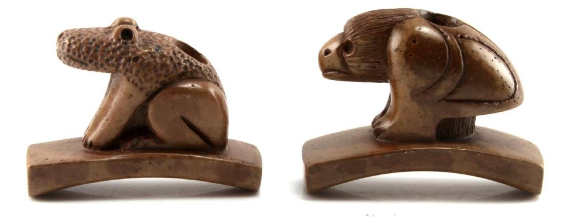 TWO HARD STONE HAND CARVED ZOOMORPHIC PIPES