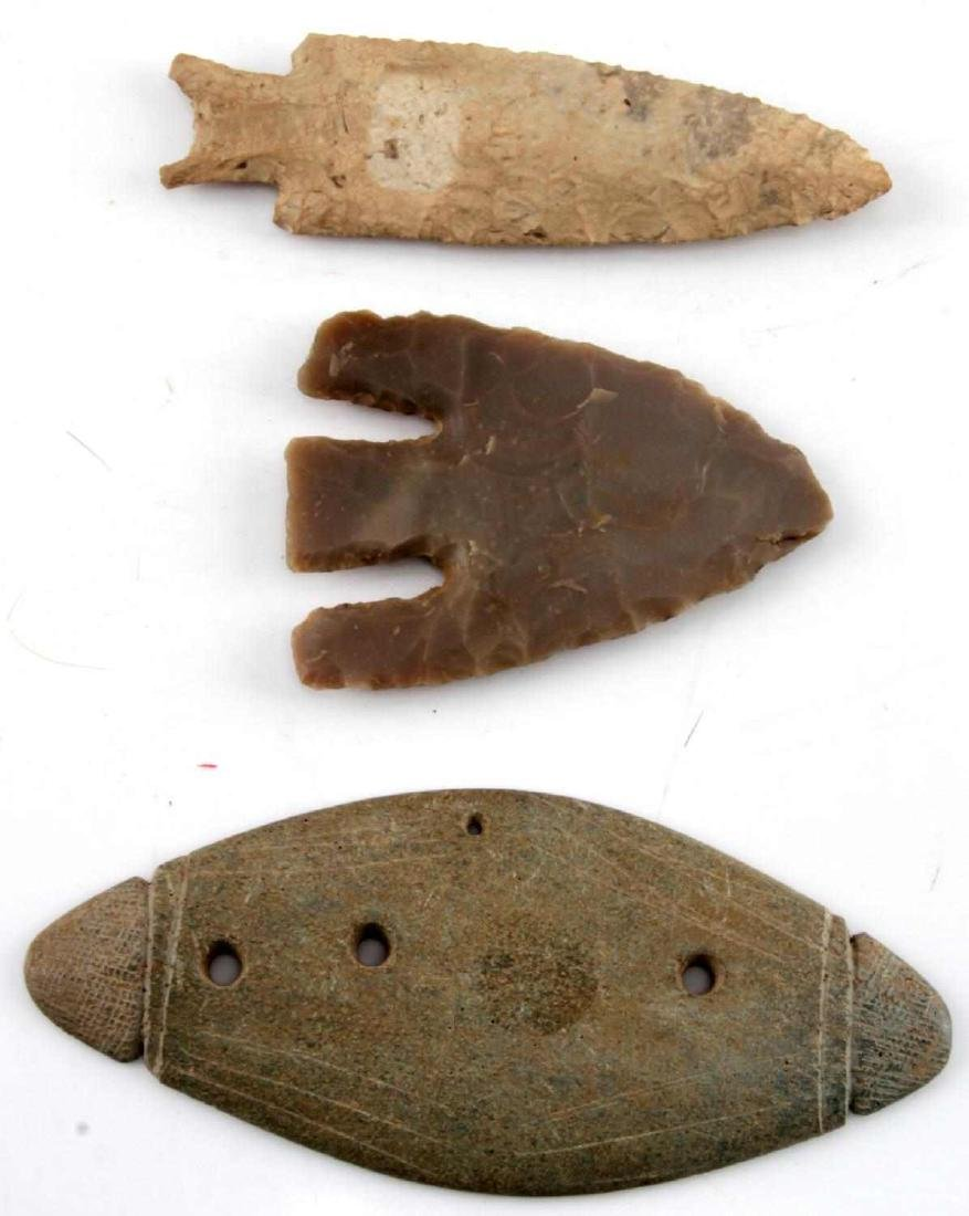 LOT OF ARTIFACTS GORGET AND 2 ARROWHEADS STONE