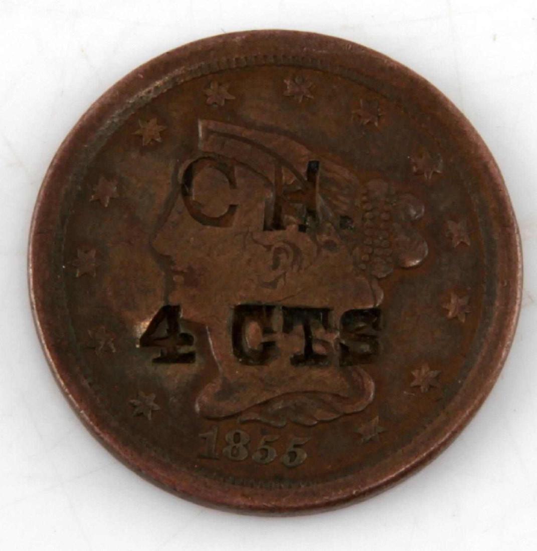 1855 COPPER U.S. HALF CENT TOKENIZED TOKEN