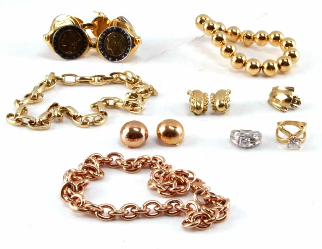 MIXED GOLD PLATE JEWELRY LOT CZ SILVER DIFF STYLES