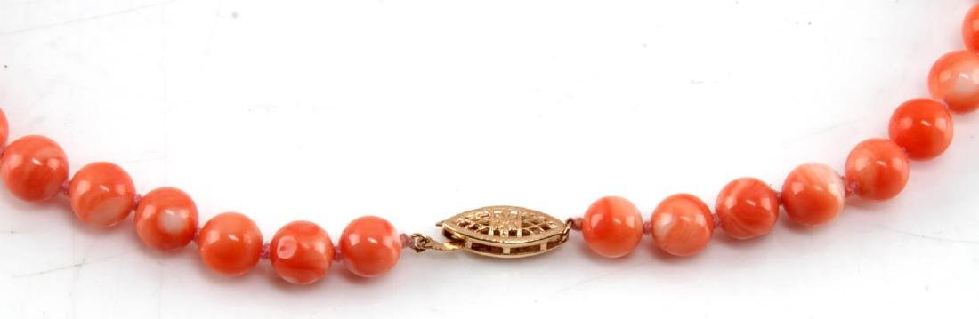 7MM LIGHT CORAL NECKLACE WITH 14KT GOLD CLASP - 2