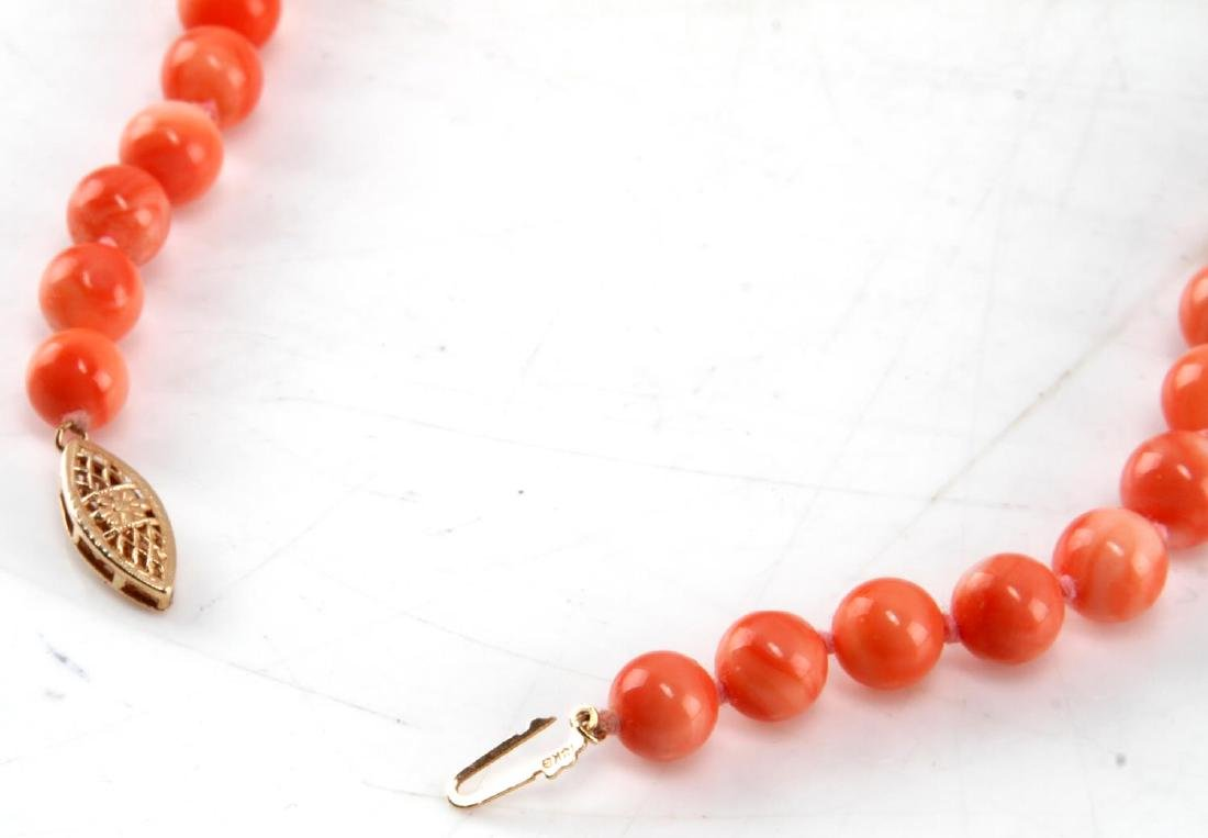 7MM LIGHT CORAL NECKLACE WITH 14KT GOLD CLASP - 3