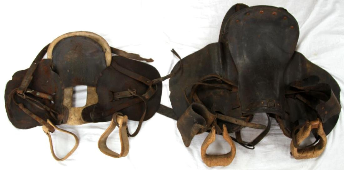 2 19TH CENTURY WOOD STIRRUP RIDING SADDLES