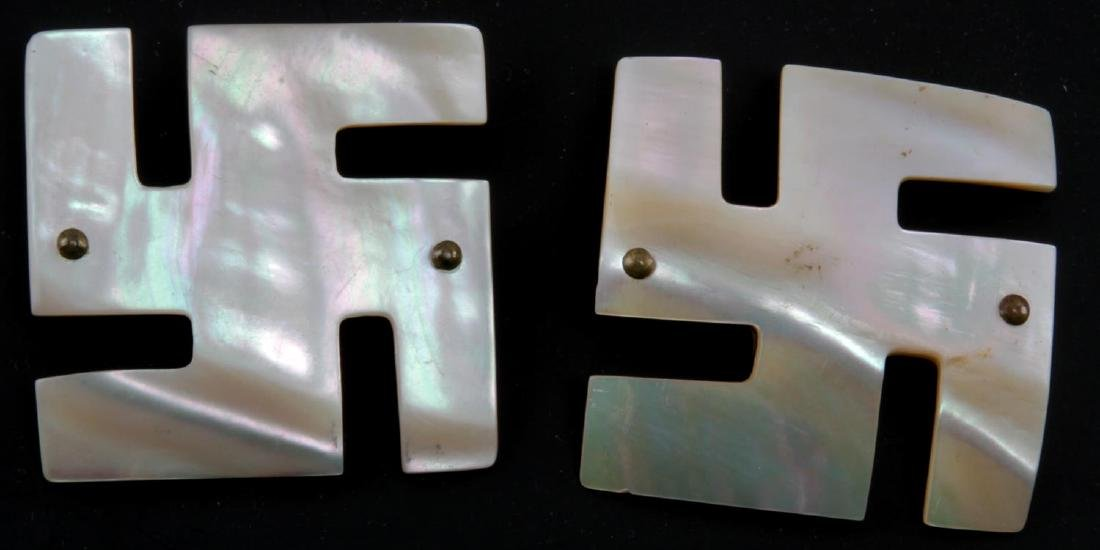 2 GERMAN WWII MOTHER OF PEARL GOOD LUCK BUCKLES