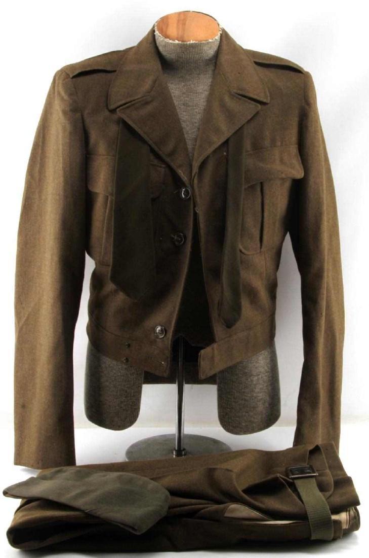 WWII US ARMY UNIFORM COAT SIDE CAP & IKE JACKET LO