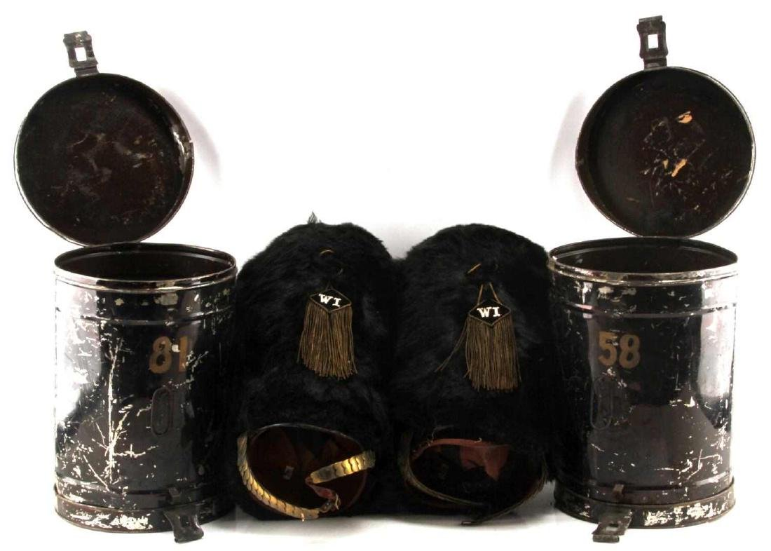 MILITARY BEARSKIN HAT LOT OF 2 WITH CONTAINERS