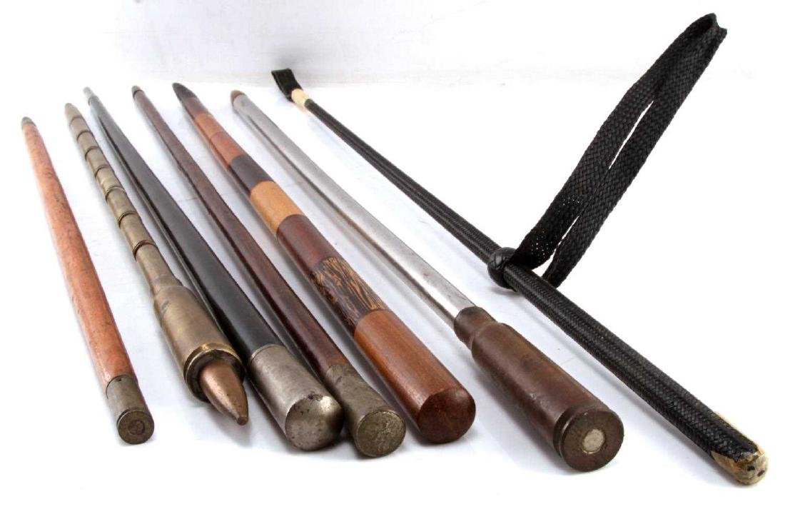 WWI WWII TRENCH ART SWAGGER STICK COLLECTION OF 7