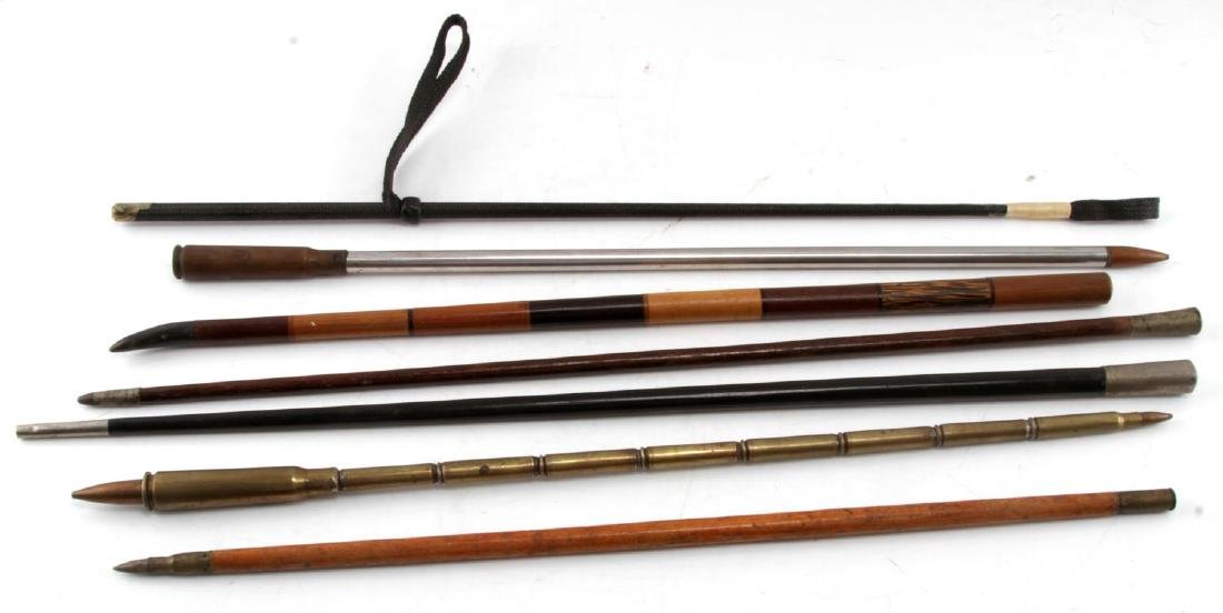 WWI WWII TRENCH ART SWAGGER STICK COLLECTION OF 7 - 5