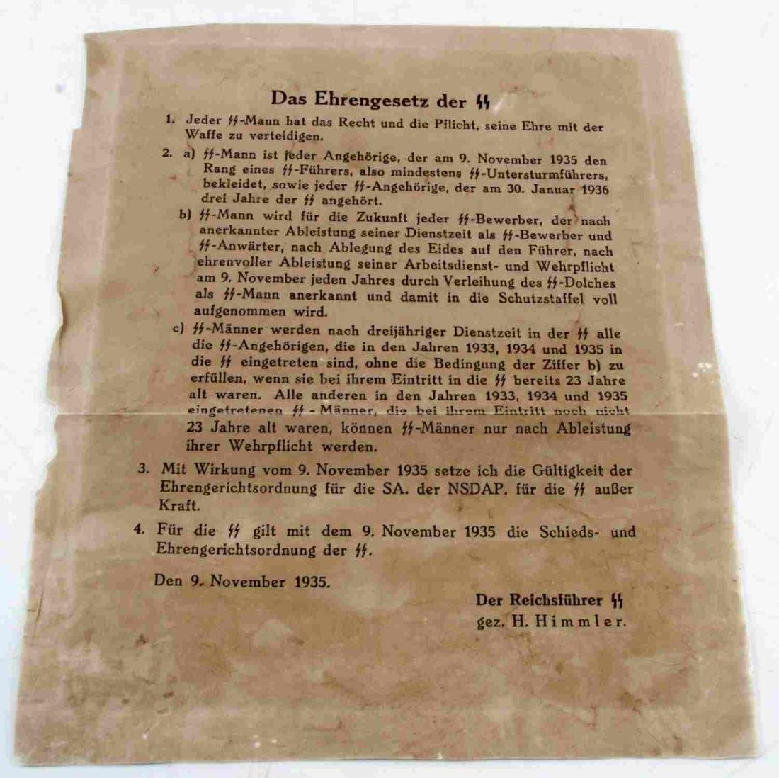 WWII THIRD REICH GERMAN SS IRON LAW LETTER HIMMLER