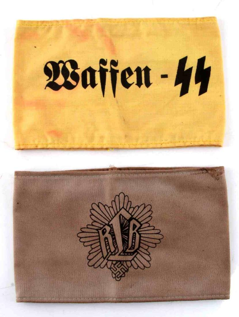WWII GERMAN THIRD REICH SS & RLB ARMBAND LOT OF 2