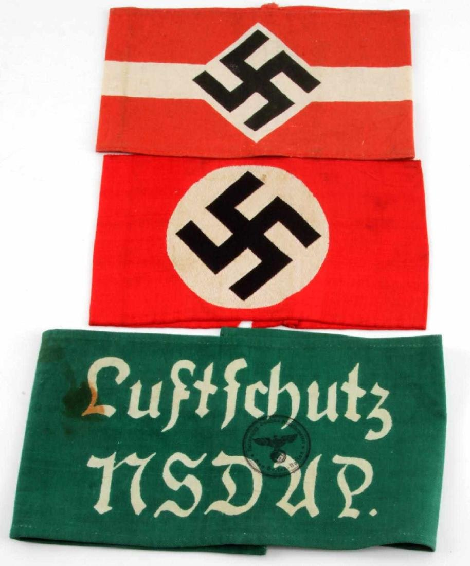 3 GERMAN WWII ARMBANDS HITLER YOUTH LUFTSCHUTZ