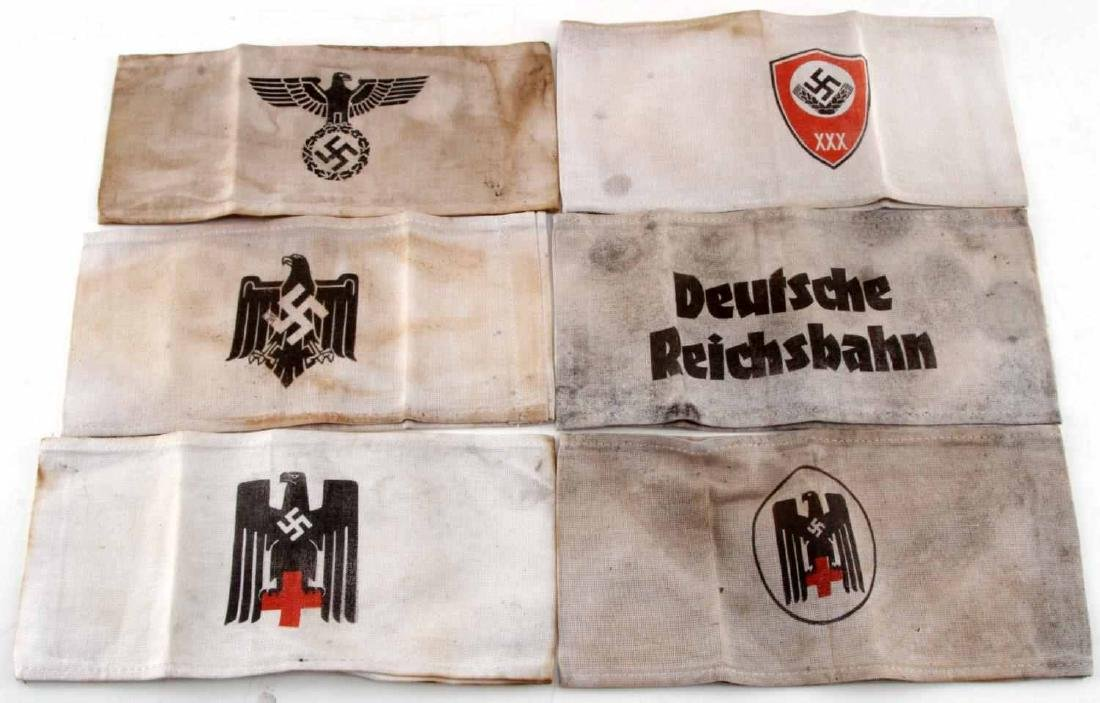LOT OF 6 GERMAN WWII ARMBANDS RED CROSS RAILWAY