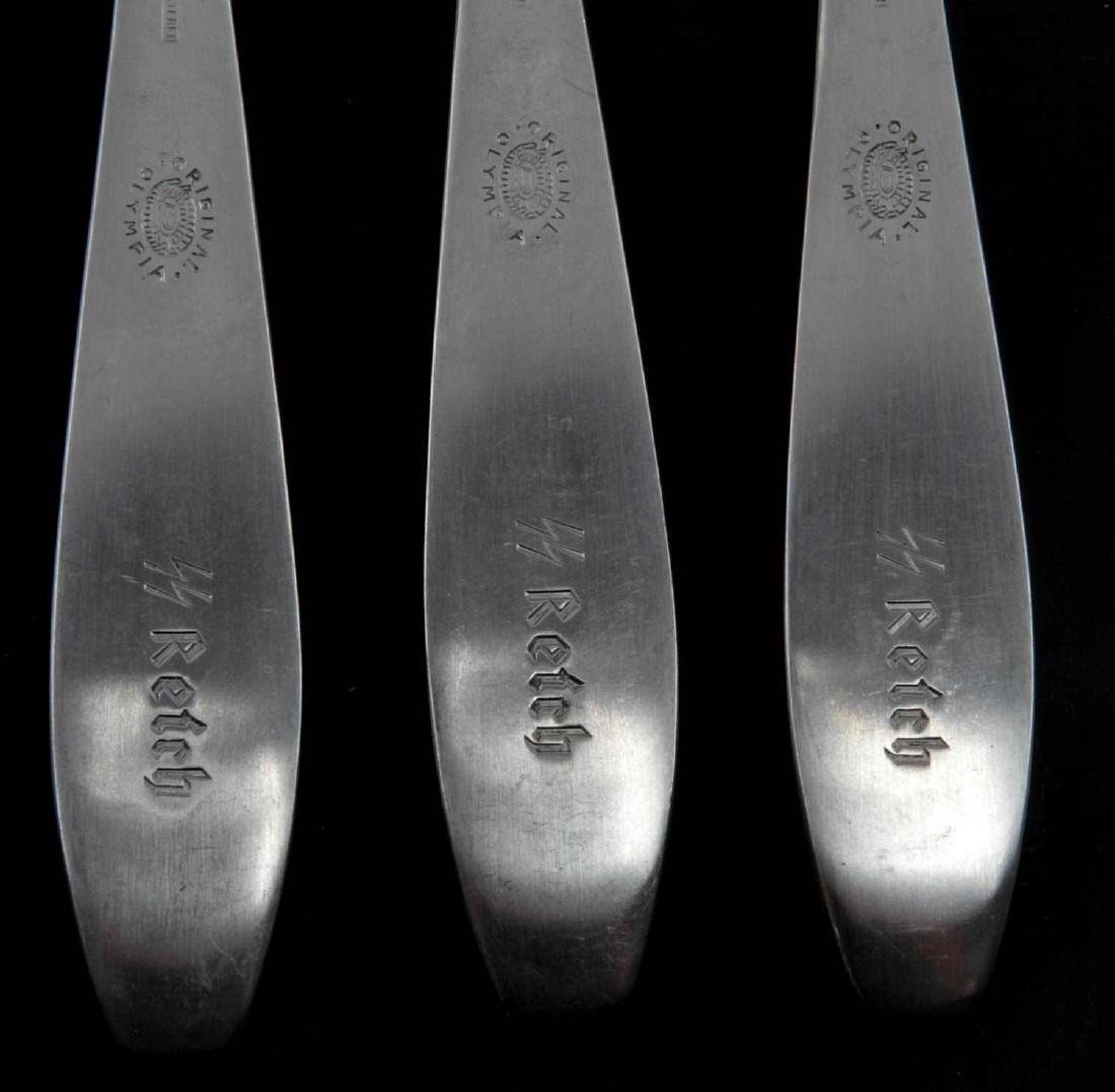 3 GERMAN WWII THIRD REICH WAFFEN SS MESS HALL FORK - 3