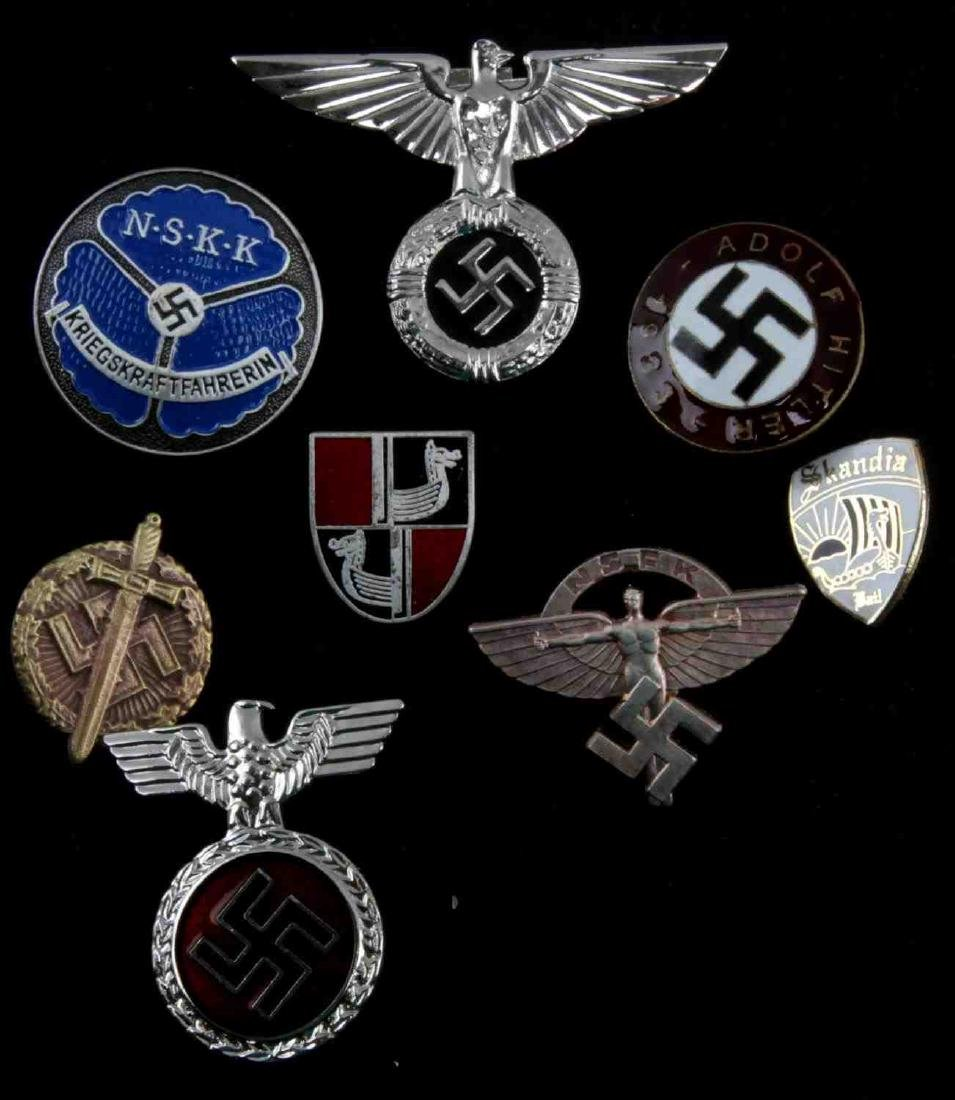 WWII GERMAN THIRD REICH LOT OF 8 PINS AND BADGES
