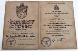 WWII GERMAN THIRD REICH DECORTION CERTIFICATE LOT
