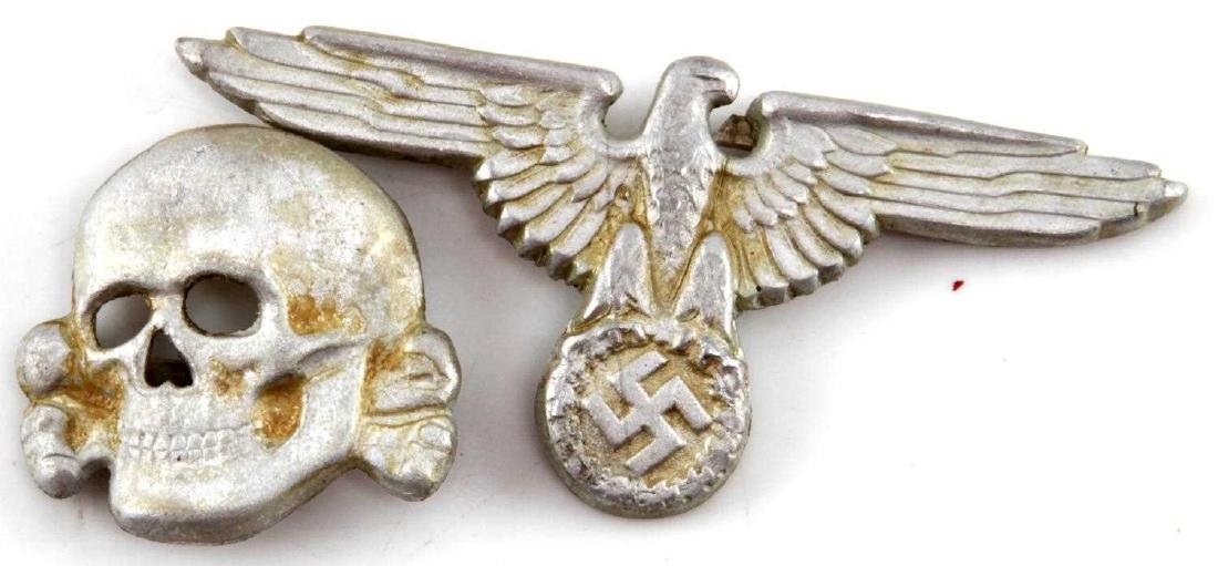 WWII GERMAN 3RD REICH WAFFEN SS HAT BADGE LOT OF 2