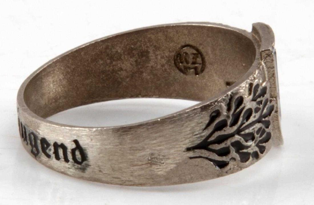 WWII GERMAN THIRD REICH SS HITLER YOUTH RING - 4