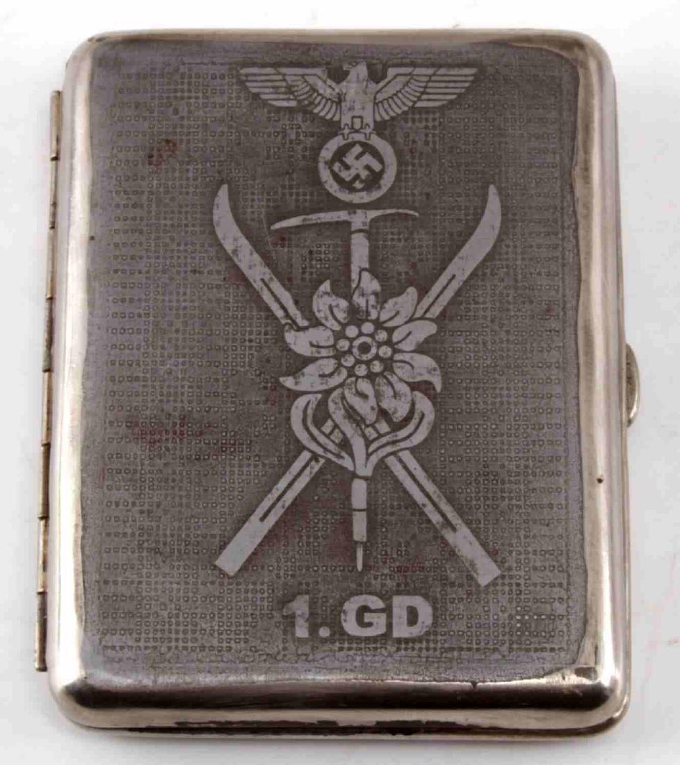 WWII GERMAN 3RD REICH 1ST MOUNTAIN CIGARETTE CASE