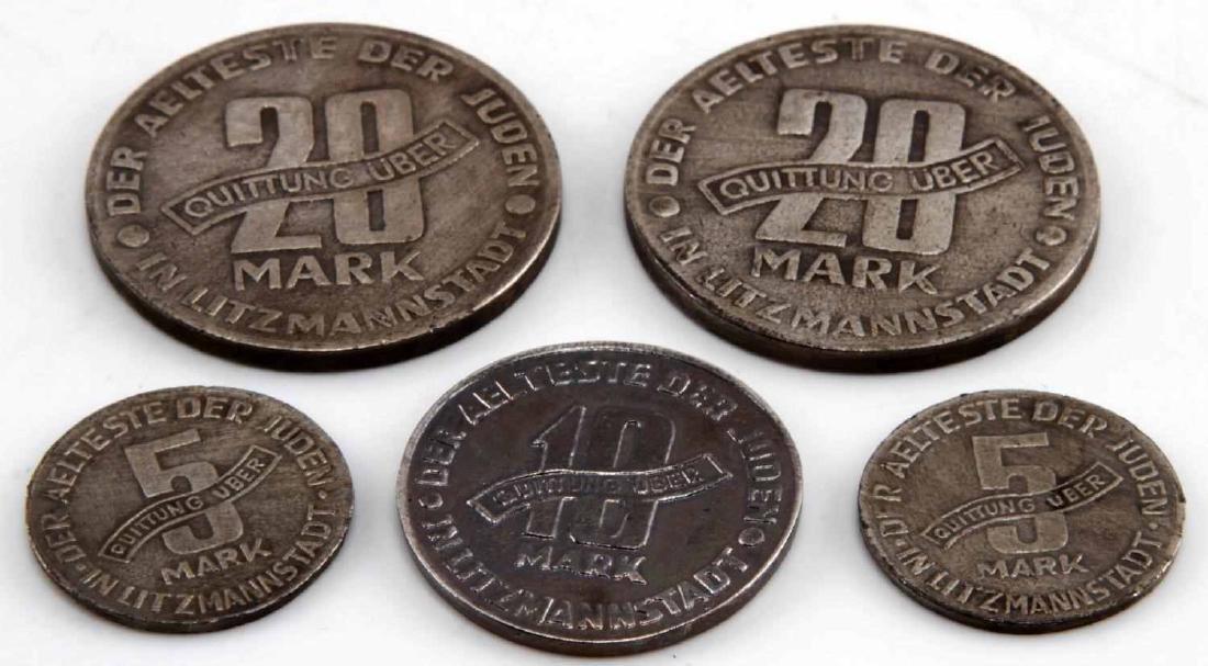 WWII GERMAN THIRD REICH JEWISH GHETTO COIN LOT - 3