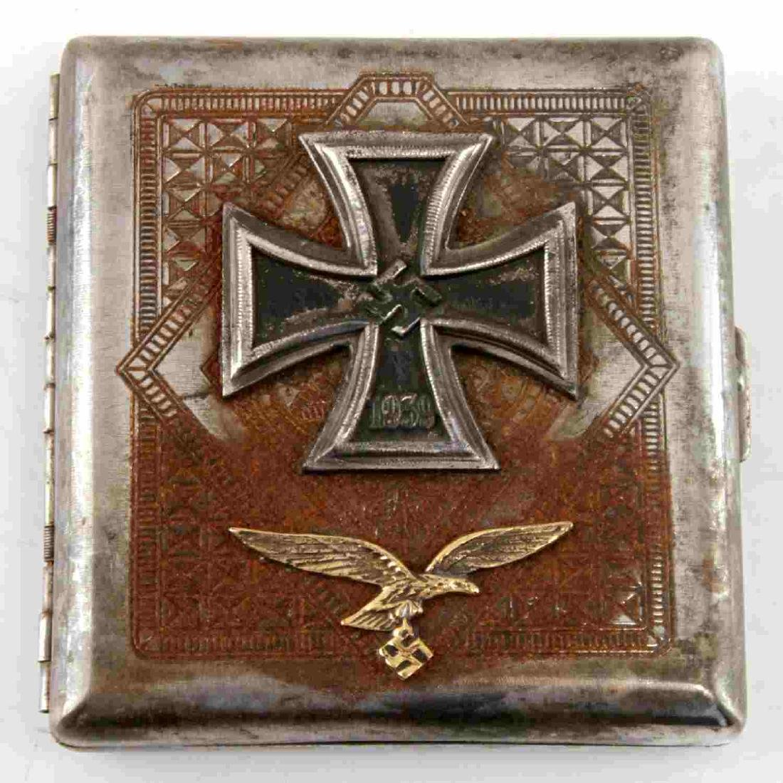 WWII GERMAN LUFTWAFFE IRON CROSS CIGARETTE CASE