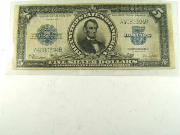 1923 PORTHOLE LINCOLN $5 LARGE SILVER CERTIFICATE