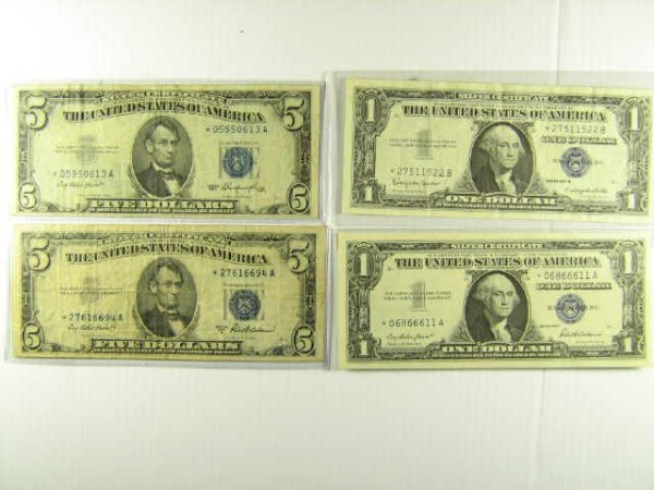 US STAR NOTE CURRENCY LOT OF 4 $5 $1 SILVER CERT