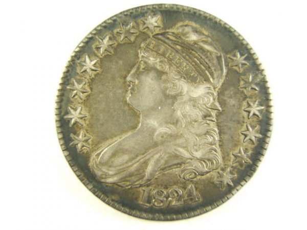 1824 CAPPED BUST HALF DOLLAR AU50 MINT LUSTER