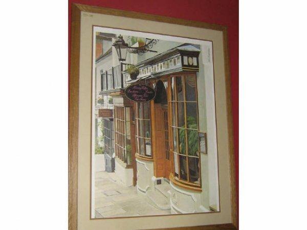 LARGE STAN BECKMAN CAFE ART PRINT FRAMED MATTED