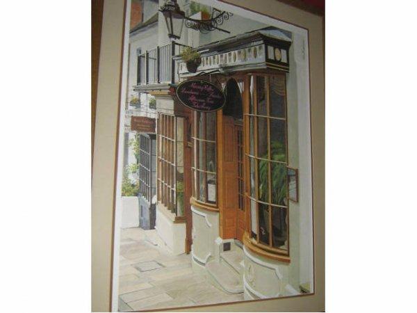 LARGE STAN BECKMAN CAFE ART PRINT FRAMED MATTED - 2