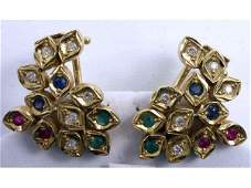 LADIES 18K GOLD EMERALD DIAMOND RUBY EARRINGS