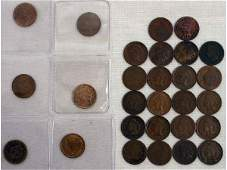 US INDIAN HEAD CENT LOT DATE RUN 1882 TO 1909