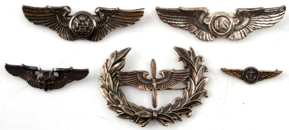 WWII UNITED STATES AVIATOR WING BADGE LOT OF 5